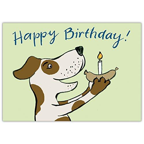 Schattige verjaardagskaart voor hondenliefhebbers met hond: Happy Birthday! • Elegante felicitatiekaart voor verjaardag met envelop zakelijk & privé