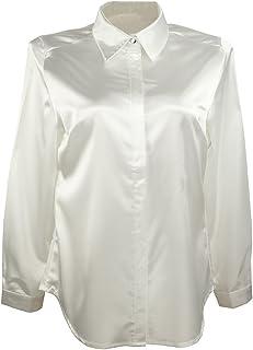 9e7399687 YOUMU Women Satin Silk Long Sleeve Button-Down Shirt Formal Work Silky  Blouse Top Black