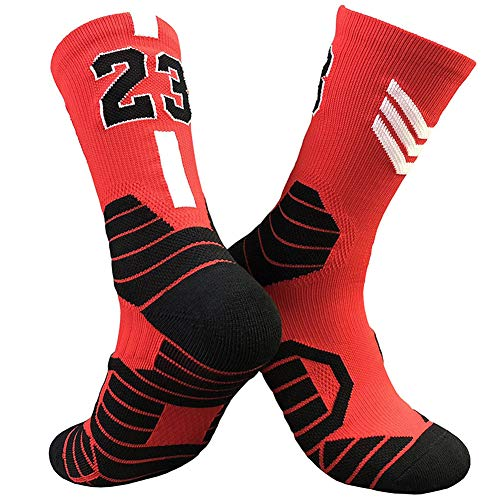 CNMD Chicago Bulls No.23 Michael Jordan Basketball Gewebte Mid-Calf Socken | Klassischer Basketball | Mehrere Farben red- Adults