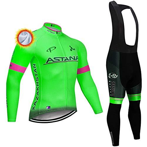 Maglia Ciclismo Uomo Manica Lunga Abbigliamento Sportivo da Ciclismo con Pantaloni Ciclismo Salopette Termico Maglia Zip Invernale MTB per MTB Ciclista