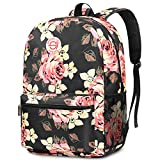 SOCKO Backpack for Women/Girls/Students Light Weight School Bag Stylish College Bookbag Cute Travel Rucksack Casual Daypack Fits up to 15.6 Inch Laptop, Peony