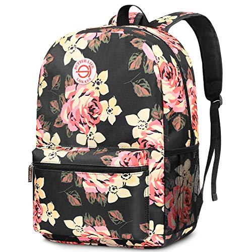 SOCKO Rucksack für Damen/Mädchen/Studenten, leichte Schultasche, stilvolle College-Büchertasche, niedlicher Reiserucksack, lässiger Tagesrucksack, passt bis zu 39,6 cm Laptop, Pfingstrose.