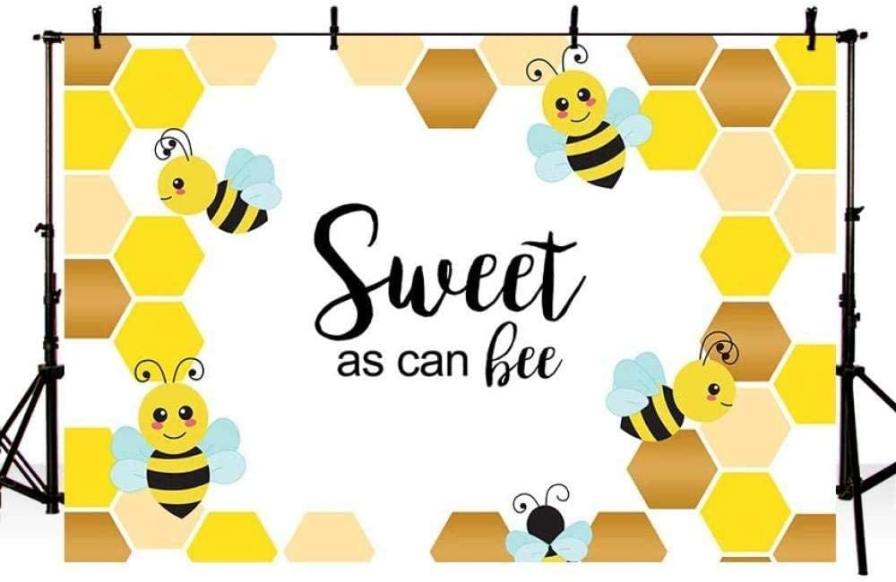 New210x150cm Backdrop Photography Vinyl Bee Baby Shower Backdrop Uv-Resistant Birthday Wall Background Photo Studio Background Product Photography Birthday Photography Backdrops Photo Background Party