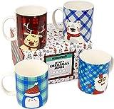 4 Pièces Coffret Cadeau de Mug de Noël, Mug à Café, Tasses à Café, 340ml| Thème Festif, Porcelaine Bone China, Passe au Lave-Vaisselle, Au Micro-Ondes| Cadeau pour la Famille et les Amis.