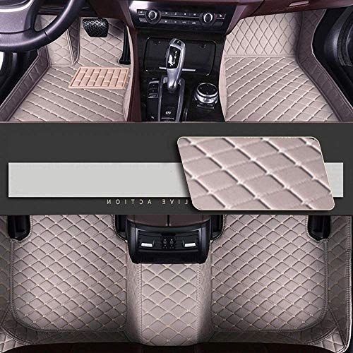 Luolong Autovoetmatten, op maat gemaakt, volledige afdekking, voor de achterste stoelhoezen, antislip, van waterdicht leer 2015-2019 VW Golf Variant 2008-2011 Beige