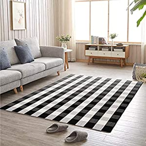 Cotton Buffalo Plaid Rugs 5′ x 7′ Reversible Black and White Plaid Hand-Woven Outdoor Checkered Area Rug Washable Outdoor Rug Farmhouse, Living Room, Bedroom (59″x79″)