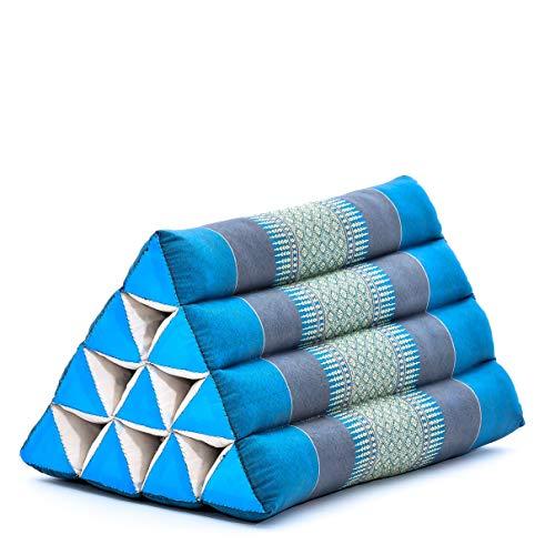 Leewadee Almohada Triangular tailandesa – Cojín de kapok sin Tratar, Respaldo cómodo para Leer, Almohadilla Hecha a Mano, 50 x 33 x 33 cm, Azul Claro