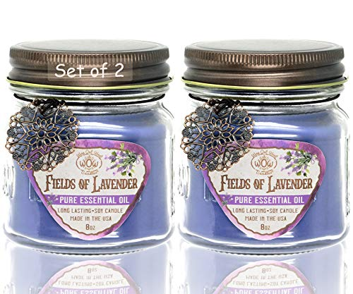 Way Out West Lavender Aromatherapy Candle Set - Stress Relief & Relaxation - Pure and Natural Lavender Essential Oil - Spa & Bath Quality Gift Set - Long...