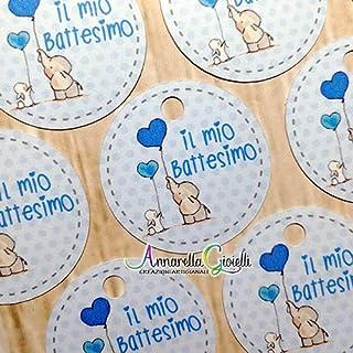 Bigliettini Battesimo Stampati per bomboniera, a partire da 20 pezzi, 3 centimetri, rotondo, etichette, cartellini azzurro...
