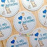 50 pezzi, Bigliettini Battesimo Stampati per bomboniera, 3 centimetri, rotondo, etichette, cartellini azzurro, celeste, blu, nascita, elefante bimbo EO3