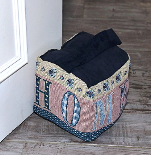 Fashion&Joy Türstopper dekorativ in edler Gobelin Qualität blau mit schönem Landhaus Motiv Home Türpuffer mit Griff 15x15 cm Zugluftstopper Typ374