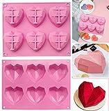Moldes de silicona con forma de corazón, 6 moldes de chocolate con forma de corazón, para hacer magdalenas del día de San Valentín, 2 unidades, color rosa