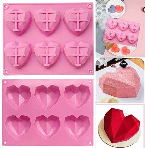 3D Diamond Heart Mold, 6-Cavity Silicone Bakeware Molds, DIY Handmade Baking Tools Tray for Making Mousse, Cioccolato, Caramelle, Cupcake, Sapone, Gelatina, Biscotti, Cubetti di Ghiaccio(2 pezz)