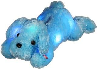 elfishgo LED Dogs Stuffed Animals, Cute Glow Puppy Dog Plush Toys Creative Night Light Gifts for Kids Birthdays, Christmas, Valentine's Day 18.1 inch (Blue)