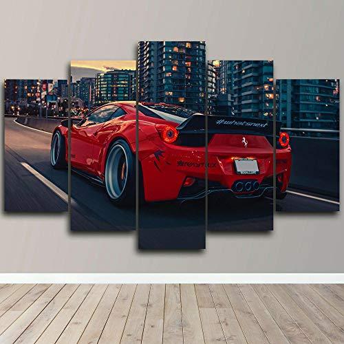 BHJIO 5 Piezas Cuadros Modernos Impresión De Imagen Artística Digitalizada | Lienzo Decorativo para Tu Salón O Dormitorio Coche Deportivo Regalo 150 X 80 Cm.