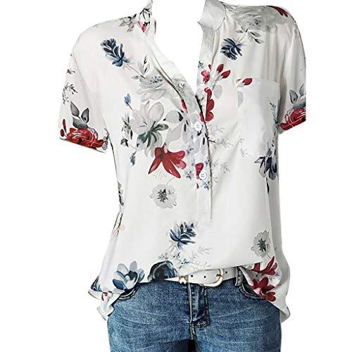 SHE.White Damen V-Ausschnitt Stehkragen Drucken Blusen Sommer Mode Lose Kurzarm Tops T-Shirt Große Größe Strand Beiläufige Shirt mit Knöpfen S-5XL