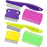 6 Pieces Pet Lice Combs Dog Grooming Flea Comb Cat Tear Stain Comb for Removal Dandruff, Hair Stain, Nit (Pink, Green, Purple, Yellow)