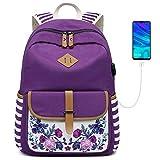 Goldwheat Girls Backpack Canvas Schoolbag Bookbag Laptop Bag Rucksack with USB Charging Po...