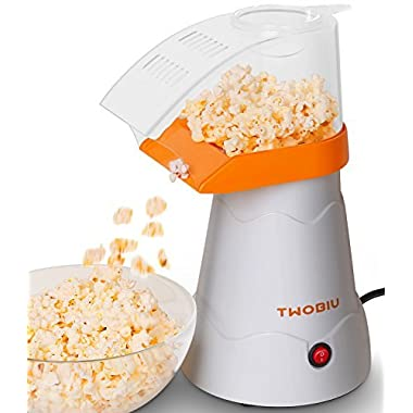 TWOBIU Popcorn Machine, Popcorn Maker, Hot Air Popcorn Popper with FDA Approved - Orange