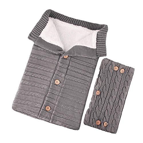 happygirr Unisex Baby Schlafsack mit Handschuhen Gestrickt Wickeln Kinder Kleinkind Dicke Strick Weiche warme Decke Schlafsack Kinderwagen für Babys 0-18 Monate