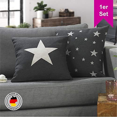 LILENO HOME 1er Set Stern Kissenbezug in antrazit (45x45 cm) - toller Stern Deko Kissen Bezug als Sofakissen ins Wohnzimmer - Sterne Kissenhüllen für Kissenfüllung als Dekokissen