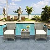 QWEPOI Juego de muebles de jardín de polirratán para 2 personas, 1 mesa y 2 sillones, resistente a la intemperie, para jardín, balcón y terraza, incluye cojines de asiento de color gris
