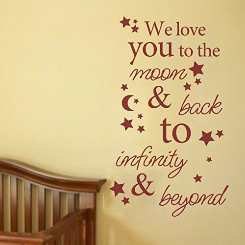 I Love You To The Moon & Back To Infinity & Beyond Nursery Wall Decal Kids Wall Quote Baby Nursery Wall Sticker Vinyl Baby Room Art Decor Black by WallsUp