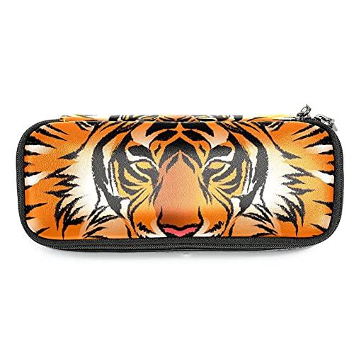 Bengal Tiger Stripe - Estuche de piel para lápices, organizador de papelería, grandes compartimentos de almacenamiento para niños, estudiantes escolares, viajes, neceser de maquillaje con cremallera