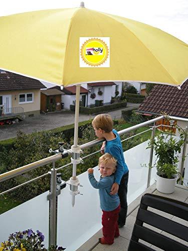 2 x 25,5 Mm pour pour parasols d'un diamètre max. de 50 mm-support de parasol balcon pour l'extérieur ou pour fixation à l'intérieur 11 cm de distance de 6–parapluie holly pour fixation breveté rond ou carré-éléments jusqu'à ø 60/55 mm avec le support universel pivotant à 360° avec fixation pour gUMMISCHUTZKAPPEN kratzfreien support pivotant à 360° avec distance prises pour piquets de parasol jusqu'à ø 25,5 50 mm avec douille profonde 13 d 11 cm cm de long et de 6 bec distance-axe de filetage-innovation fabriqué en allemagne-holly ® produits sTABIELO-holly-sunshade ®-chez sCHIRMEN sur 2,5 cm de diamètre - 2 supports de fixation ou 2–te utiliser pour des raisons de sécurité, serre-câbles)