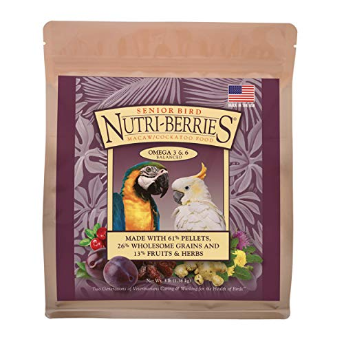 LAFEBER'S Senior Bird Nutri-Berries Pet Bird Food, Made with Non-GMO and Human-Grade Ingredients, for Macaws & Cockatoos, 3lb