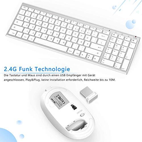 Jelly Comb Tastatur und Maus kabellos, 2.4Ghz Wireless Wiederaufladbare Tastatur Maus Set, Ultra Dünn QWERTZ Funktastatur für PC, Desktop, Notebook, Laptop, Windows XP/7/8/10(Weiß und Silber)