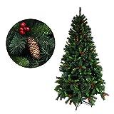 クリスマスツリー 枝大幅増量タイプ 松ぼっくり付き 赤い実付き おしゃれな クリスマスツリー 180CM KSTT