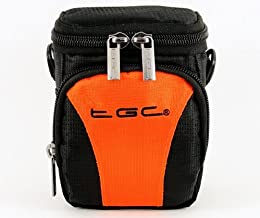 The TGC Hot Orange Black Deluxe Compact Shoulder Carry Case Bag for the FujiFilm Fujifilm X20 Camera