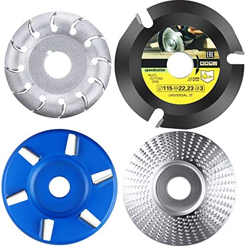 4 Pieces Angle Grinder Wood Carving Disc Shaping Disc 6 Teeth and 12 Teeth Wood Carving Disc product image