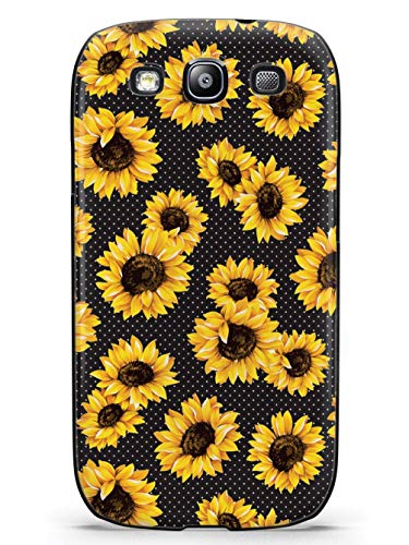 Inspired Cases - 3D Textured Galaxy S3 Case - Rubber Bumper Cover - Protective Phone Case for Samsung Galaxy S3 - Sunflower Pattern - Black