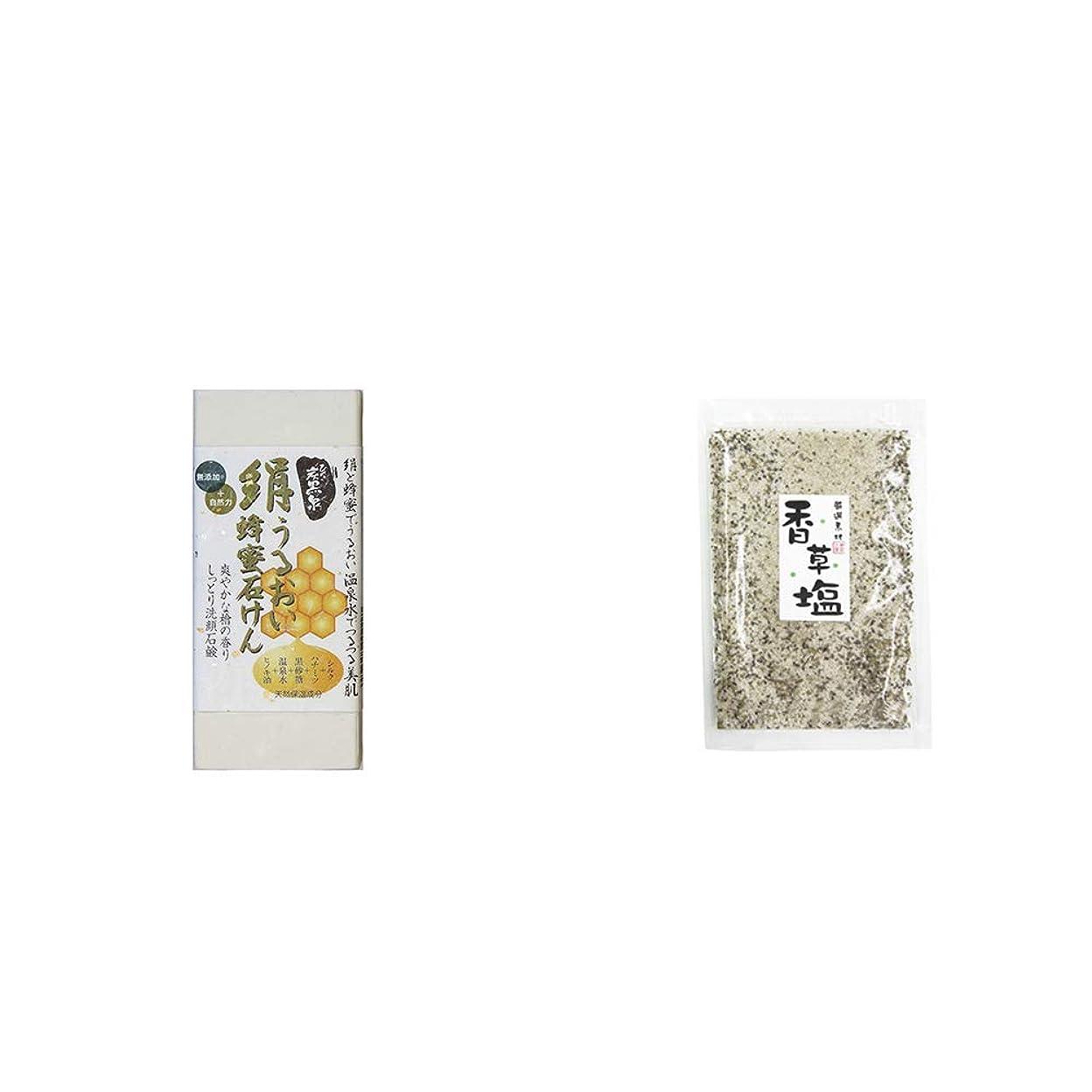 昇進ボリュームアミューズメント[2点セット] ひのき炭黒泉 絹うるおい蜂蜜石けん(75g×2)?香草塩 [袋タイプ](100g)