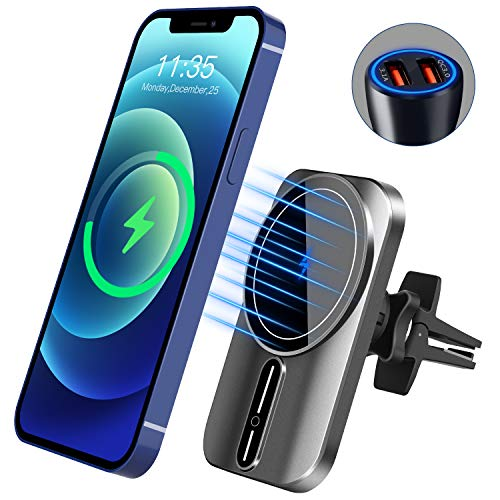 WAITIEE Magnetic Wireless Car Charger Mount for iPhone 12 /12 Mini /12 pro/ 12 pro max 【 with QC3.O car Charger Adapter】 Fast magsa-fe car Charger Accessories for Women / Man Air Vent iPhone Holder