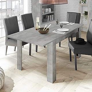 Tousmesmeubles Table de Repas à allonge Béton ciré Clair - LUBIO - L 137/185 x l 90 x H 79 - Neuf