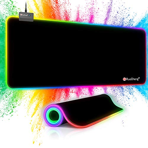 RuoCherg RGB Mauspad, 80 x 30 cm Gaming Mousepad mit 14 Beleuchtungs-Modi, Wasserdicht Anti Rutsch Mouse Matte für Computer PC Professionelle Gamer