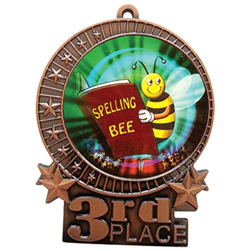 Express Medals 3 inch Spelling Bee 3rd Place Bronze Medal with Neck Ribbon Award XMDMY4 (1)