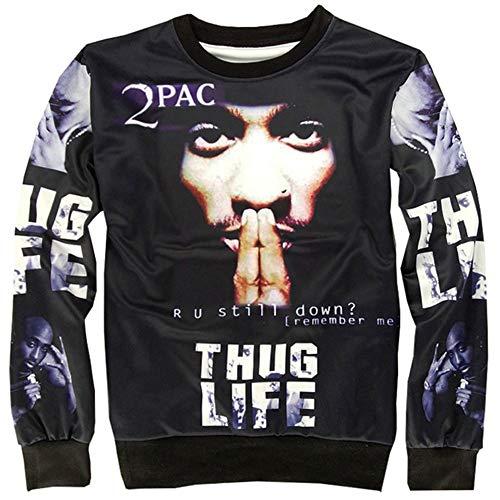 Funny Hoodies Interesting Hot Sweatshirt 3D Kleidung T-Shirt Gr. S, Thug Life