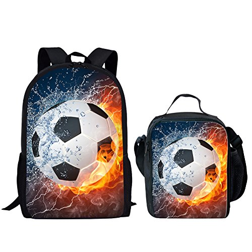 HUGS IDEA 2 Piece Kids School Shoulder Bag Football Lightning Printing Backpack for Teen Boys with Lunch...