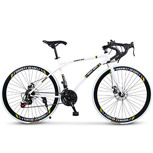 Road Bicycle, 24-Speed 26 Inch Bikes, Double Disc Brake, High Carbon Steel Frame, Road Bicycle Racing, Men and Women Adult, Rider Height 165-185 cm (5.4-6 Feet),White