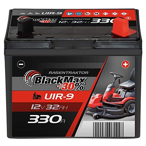 BlackMax U1R (Pluspol rechts) +30% Garden Power Rasentraktor-Batterie 12V 32Ah 330A Starterbatterie für Aufsitzmäher wartungsfrei