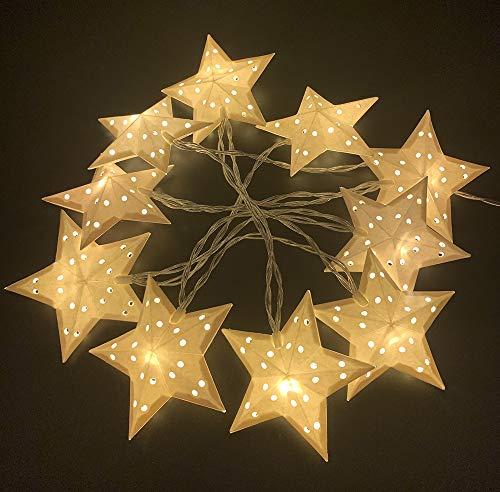 Style home Lichterkette 10 LED Lichterketten mit Papiersternen, Batteriebetriebene Lichter für Innen Party Weihnachten Hochzeit Deko (Warmweiß)