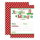 Jingle and Mingle Christmas Holiday Party Invitations, 20 5'x7' Fill in Cards with Twenty White Envelopes by AmandaCreation