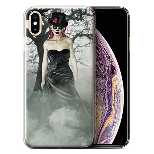 Stuff4® beschermhoes/cover/hoes/behuizing gel/TPU/protetetiv bedrukt met motief Dag van de Dood Festival voor Apple iPhone XS Max - jurk zwart dames