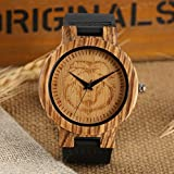 Brown Mens Wood Watch, Black Leather Wood Carving Lion Pattern Quartz Wooden Watches
