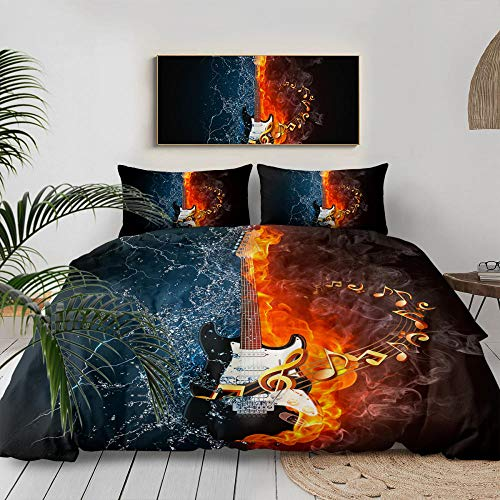 3D Bedding Set Printed,Water-Fire Electric Guitar Music Melody Art,3D Modern Pattern Bedding Set Duvet Cover Set Pastel Printed Comforter Cover 3 Pieces Bed Sets With 2 Pillow Cases,Us Queen 228C
