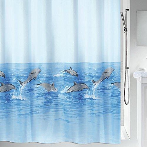 """Spirella Anti-Schimmel Duschvorhang - Anti-Bakteriell, waschbar, wasserdicht, Polyester, """"Delfine"""" 180x200cm Blau"""